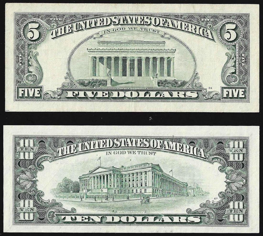 Set of 1995 $5 & $10 Federal Reserve STAR Notes - 2