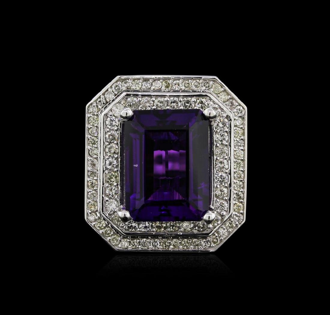 14KT White Gold 11.14 ctw Amethyst and Diamond Ring - 2