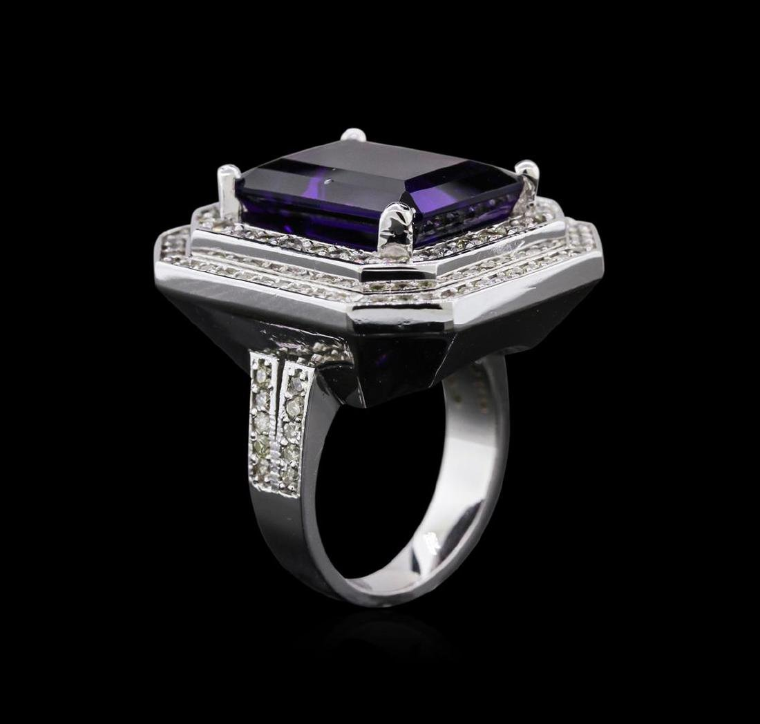 14KT White Gold 11.14 ctw Amethyst and Diamond Ring - 3