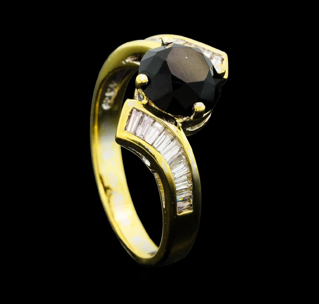 1.40 ctw Black and White Diamond Ring - 14KT Yellow - 4
