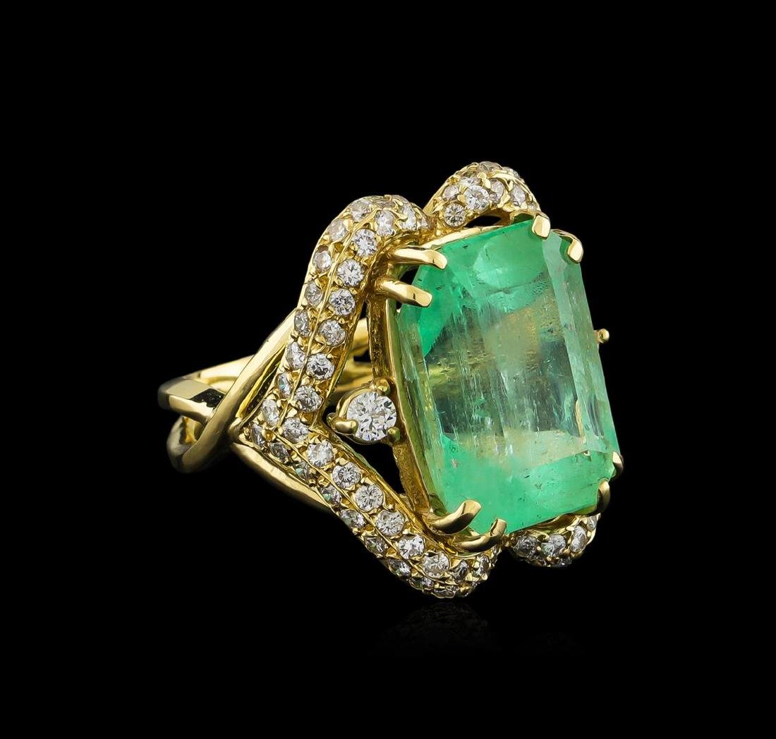 GIA Cert 17.51 ctw Emerald and Diamond Ring - 14KT
