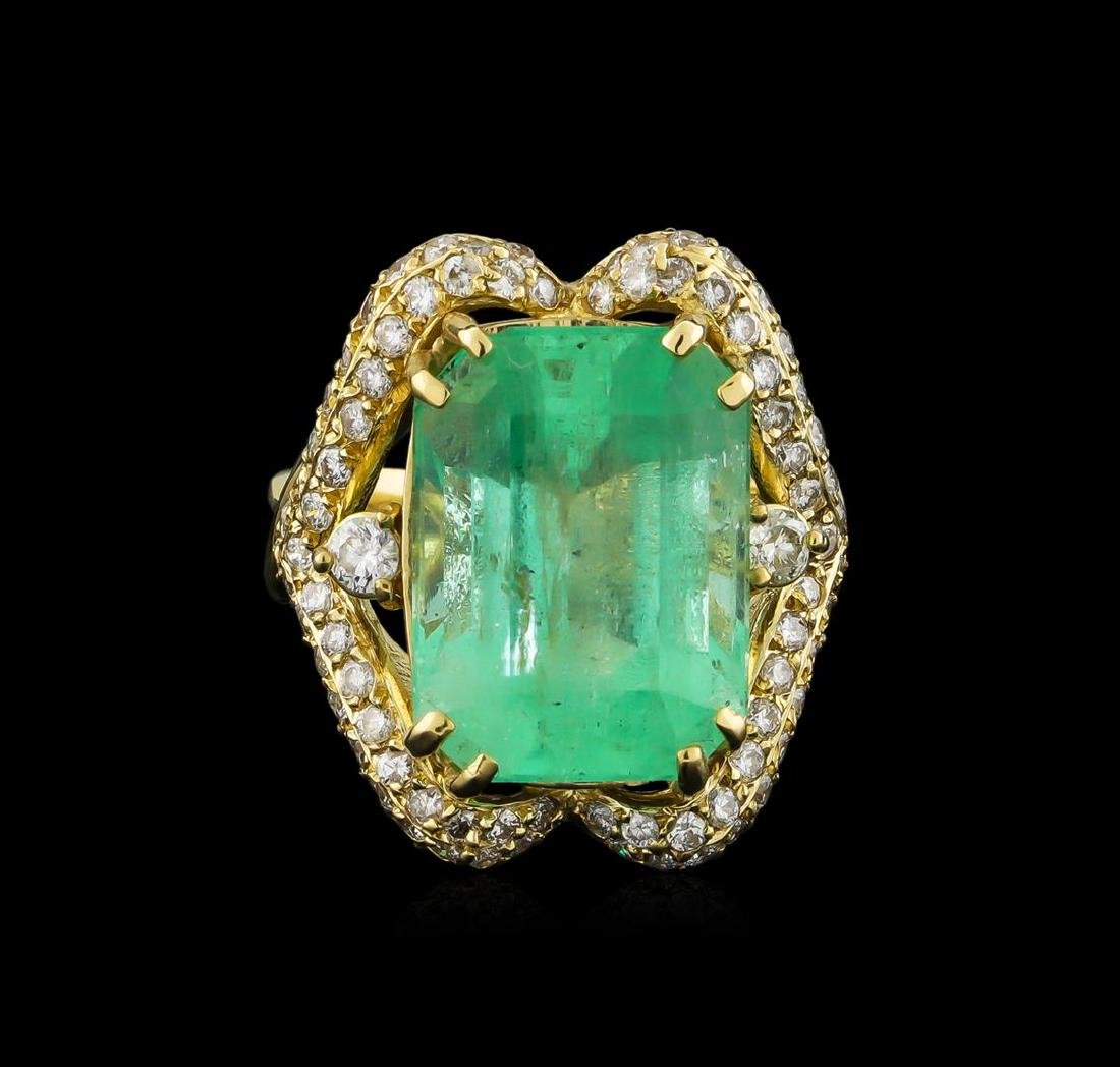 GIA Cert 17.51 ctw Emerald and Diamond Ring - 14KT - 2