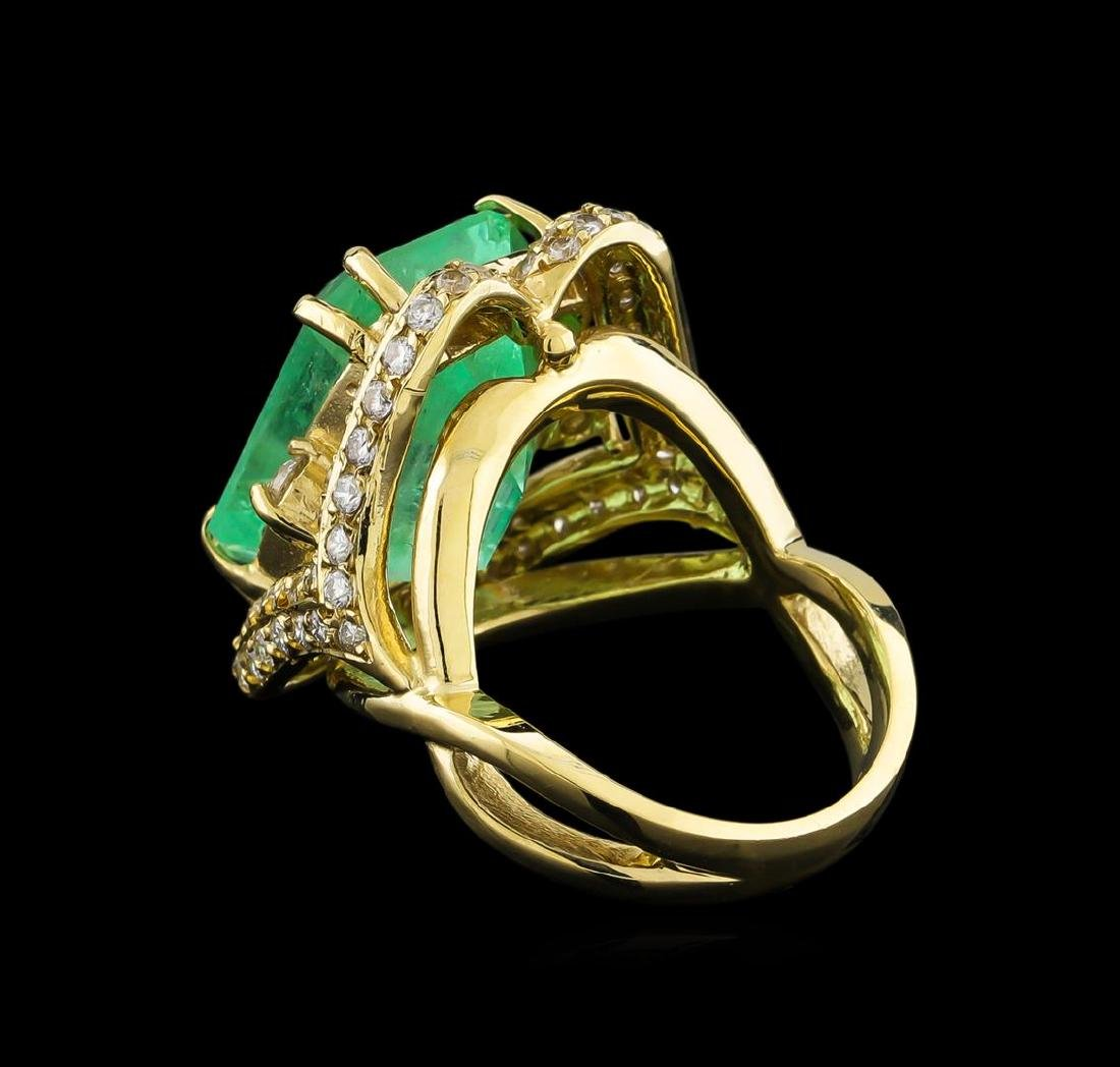 GIA Cert 17.51 ctw Emerald and Diamond Ring - 14KT - 3