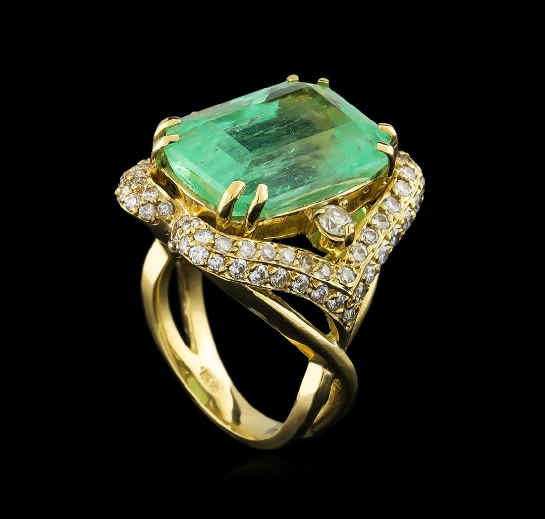 GIA Cert 17.51 ctw Emerald and Diamond Ring - 14KT - 4