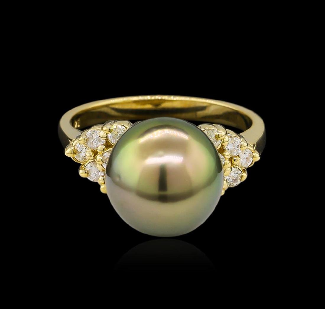 0.30 ctw Pearl and Diamond Ring - 14KT Yellow Gold - 2