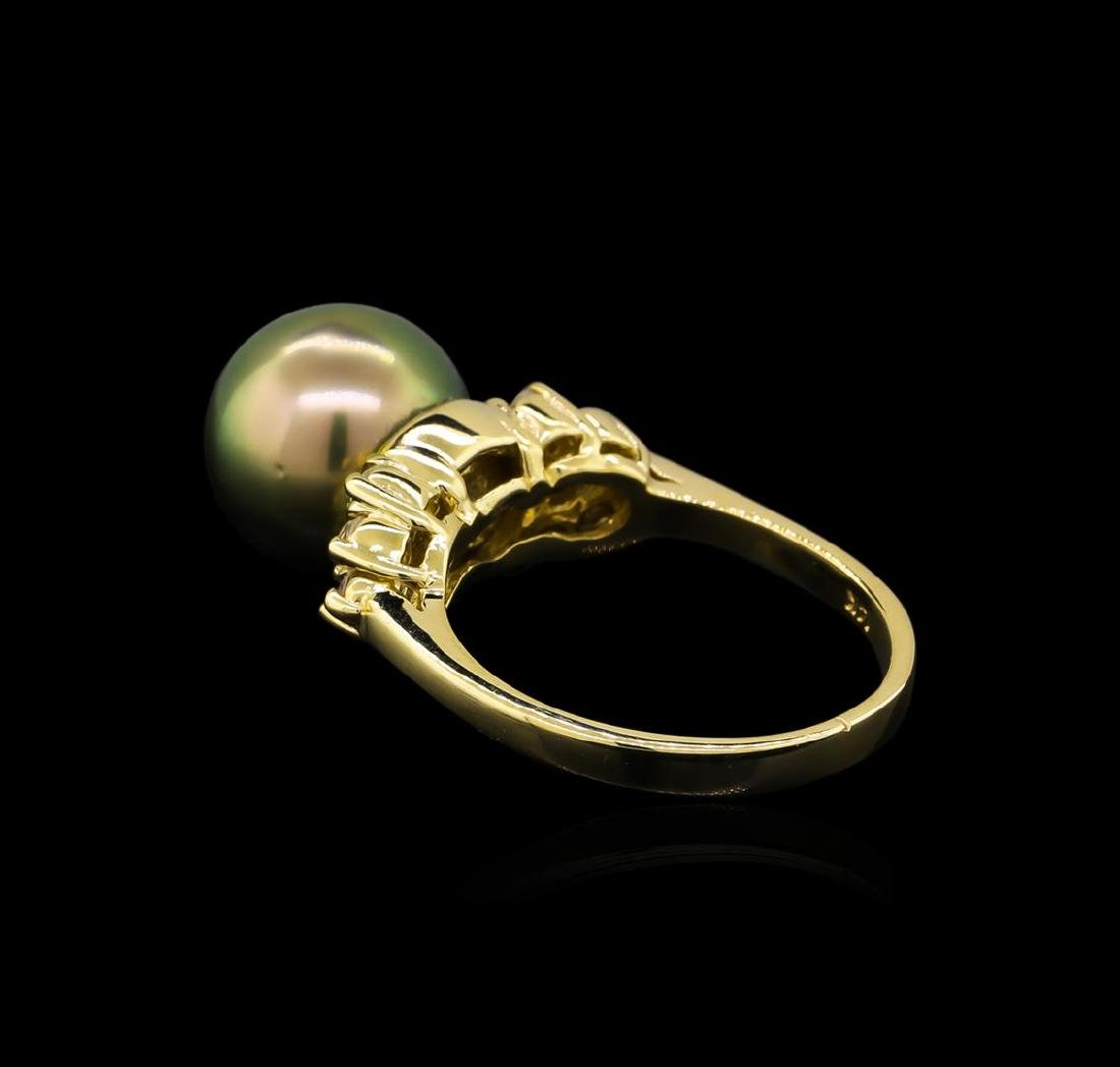 0.30 ctw Pearl and Diamond Ring - 14KT Yellow Gold - 3