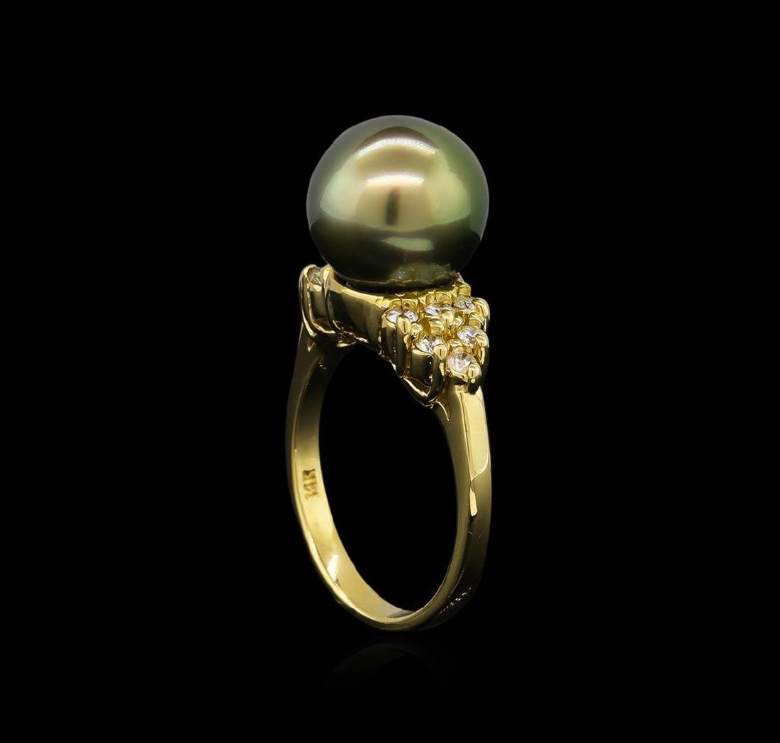 0.30 ctw Pearl and Diamond Ring - 14KT Yellow Gold - 4