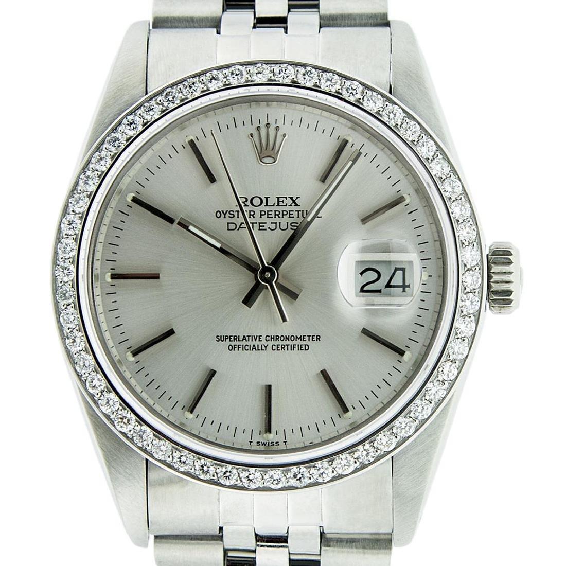 Rolex Mens Stainless Steel Silver Diamond 36MM Datejust