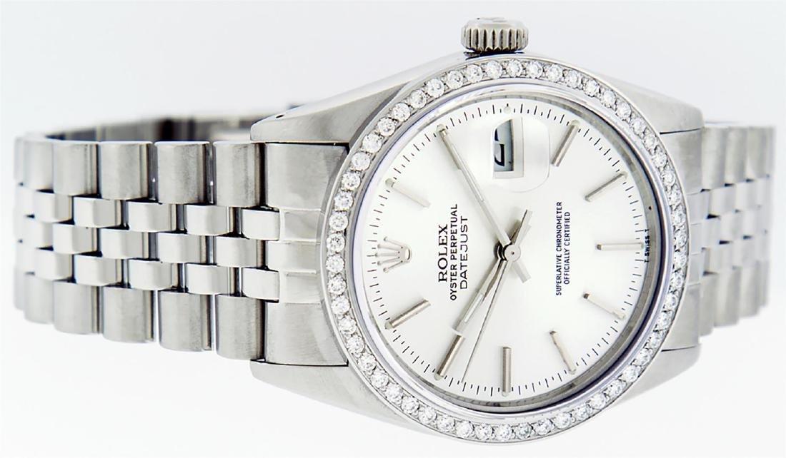 Rolex Mens Stainless Steel Silver Diamond 36MM Datejust - 3