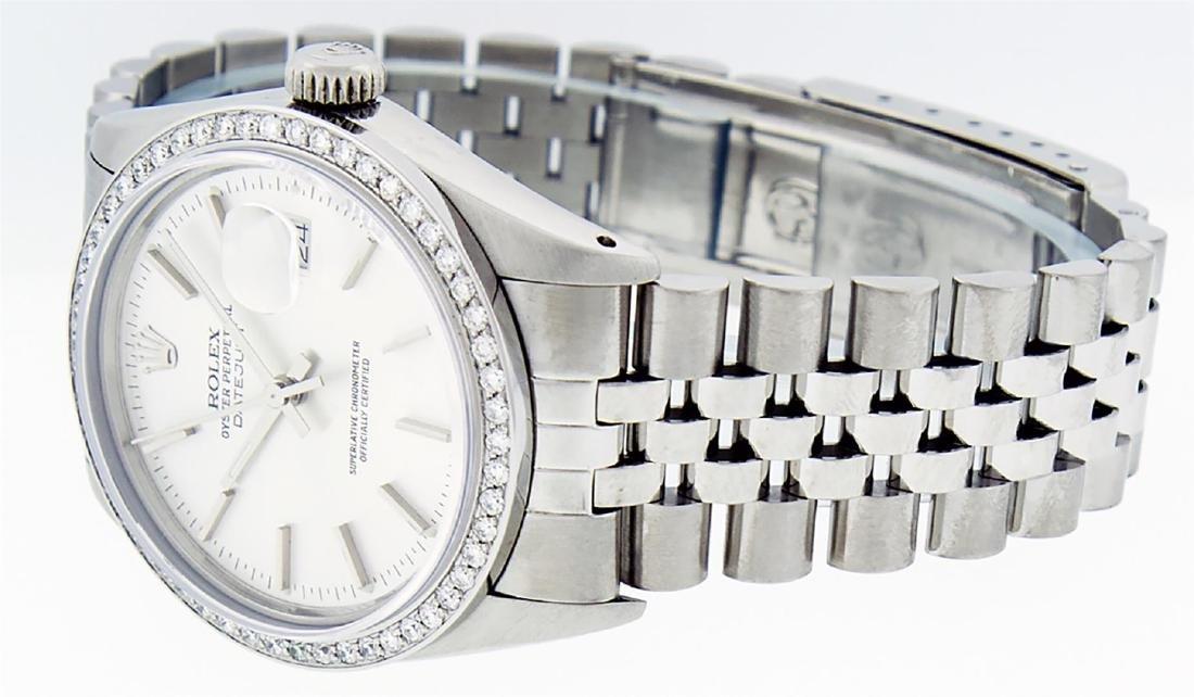 Rolex Mens Stainless Steel Silver Diamond 36MM Datejust - 4