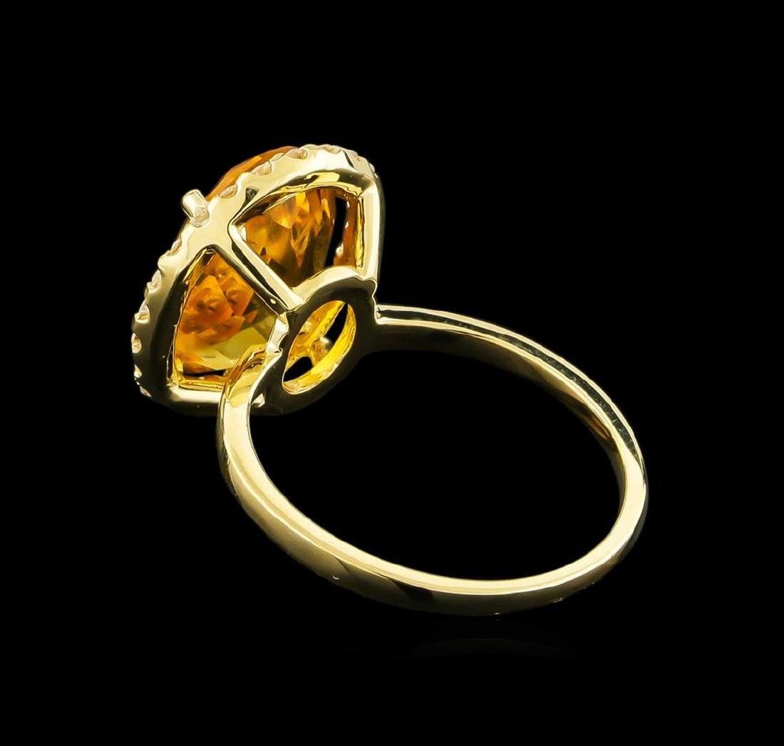 4.57 ctw Citrine and Diamond Ring - 14KT Yellow Gold - 3