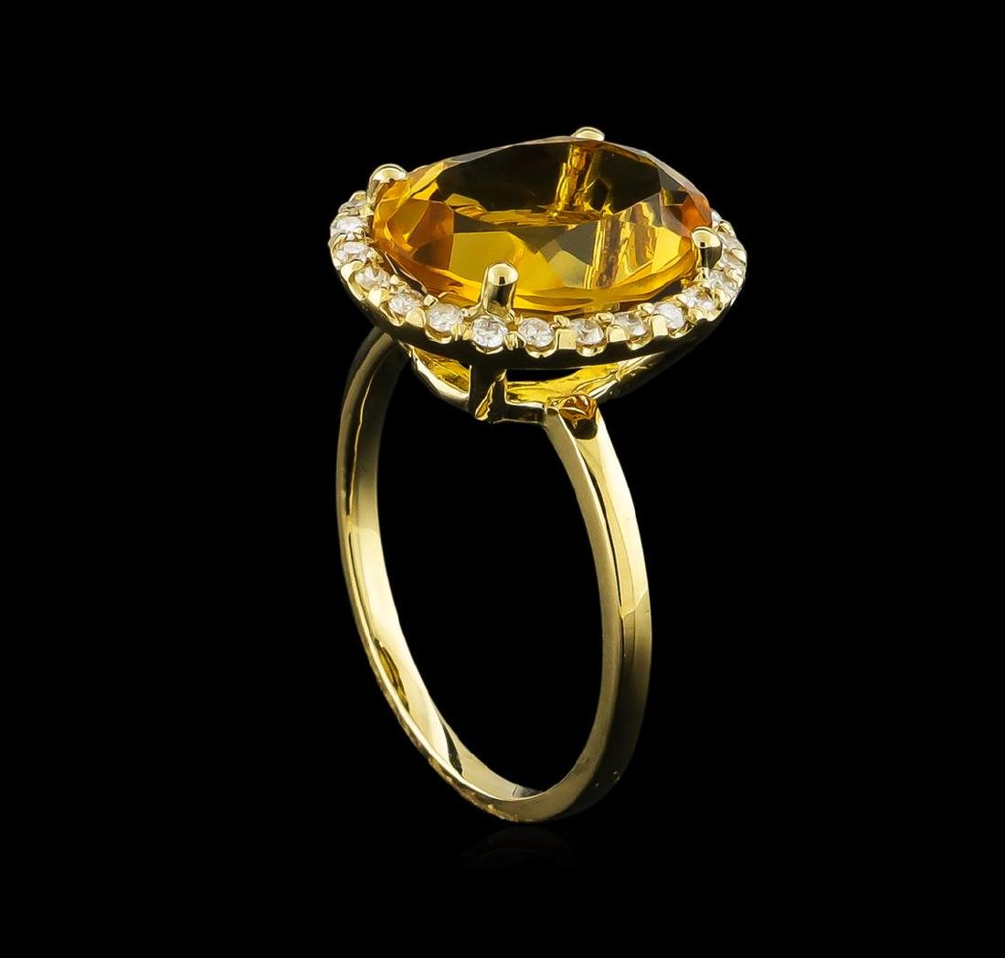 4.57 ctw Citrine and Diamond Ring - 14KT Yellow Gold - 4