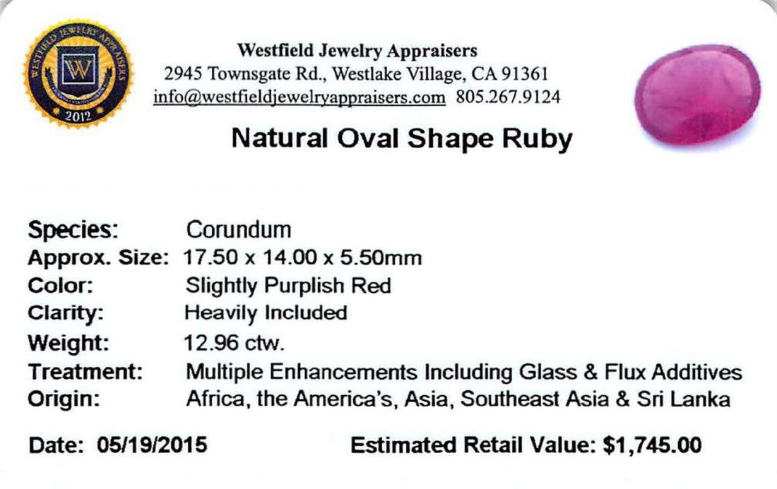 12.96 ctw Oval Ruby Parcel - 2
