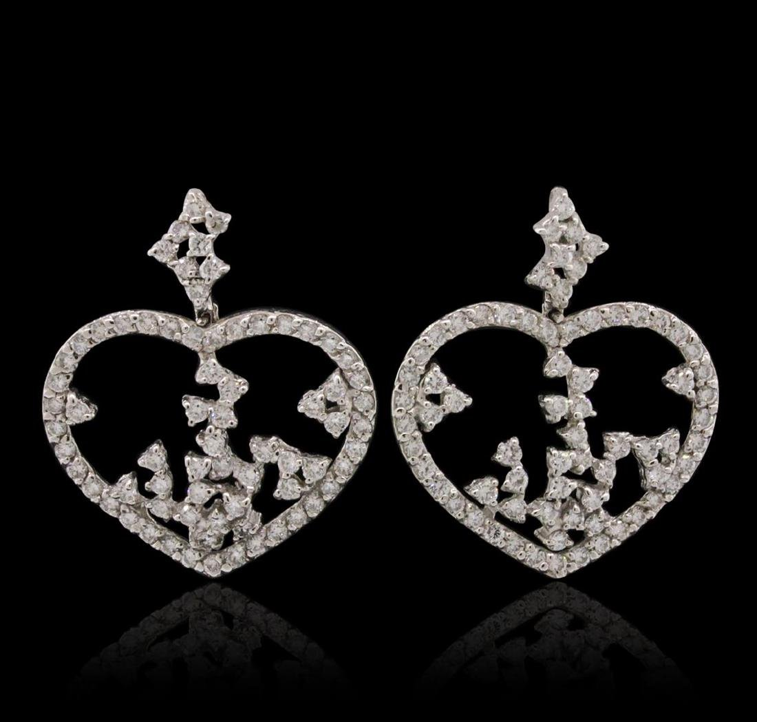 14KT White Gold 1.90 ctw Diamond Earrings - 2