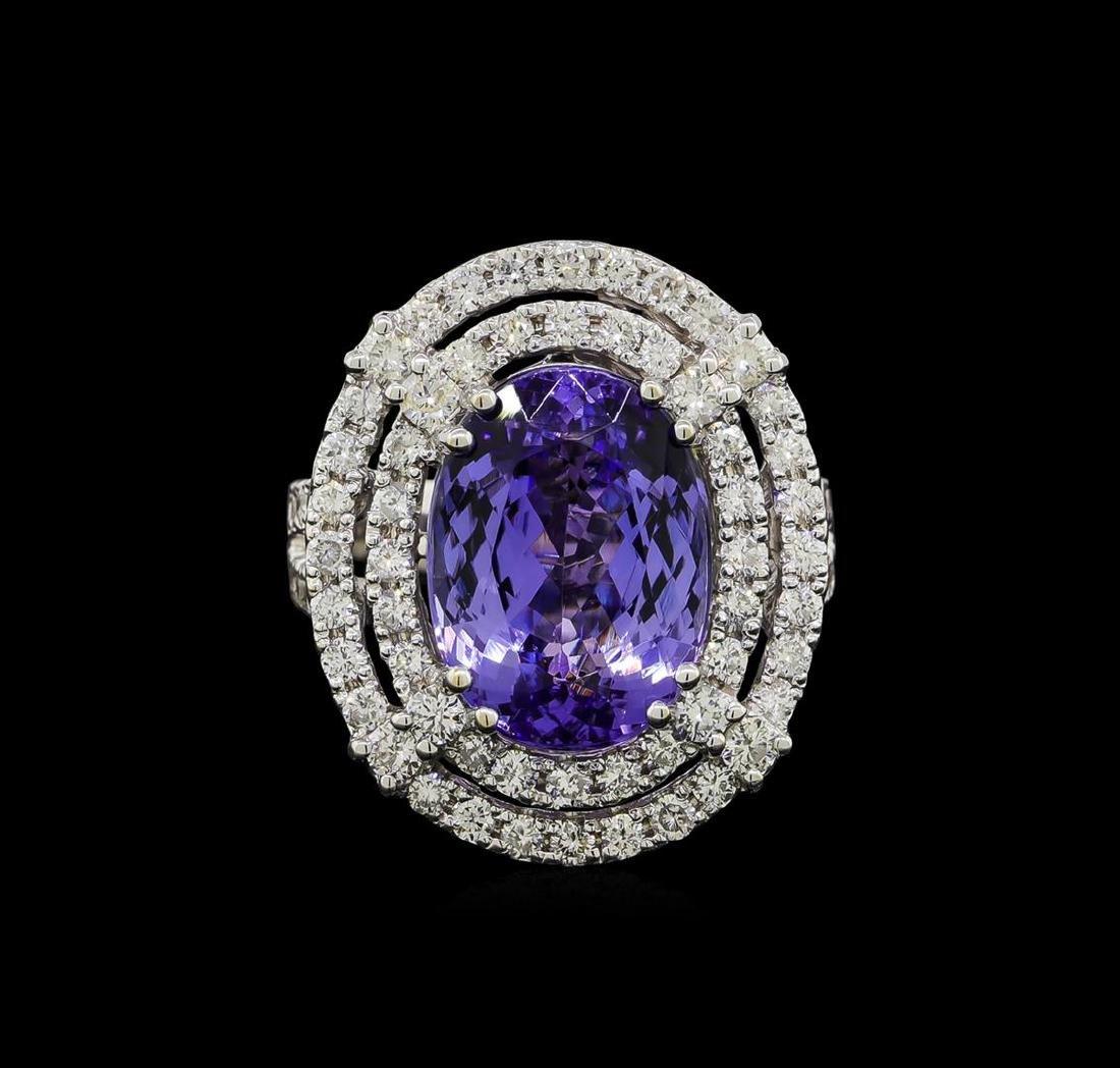 9.81 ctw Tanzanite and Diamond Ring - 14KT White Gold - 2