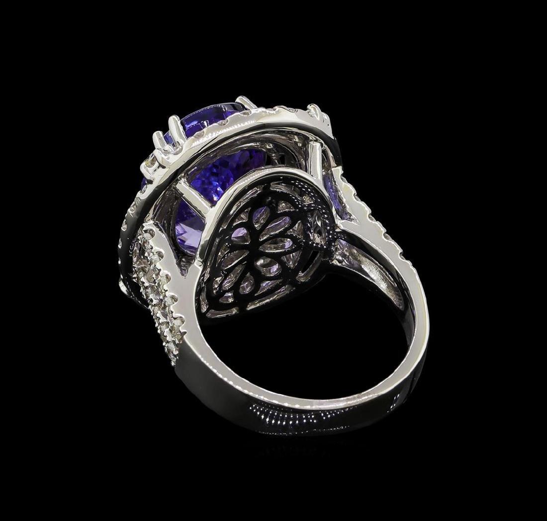 9.81 ctw Tanzanite and Diamond Ring - 14KT White Gold - 3