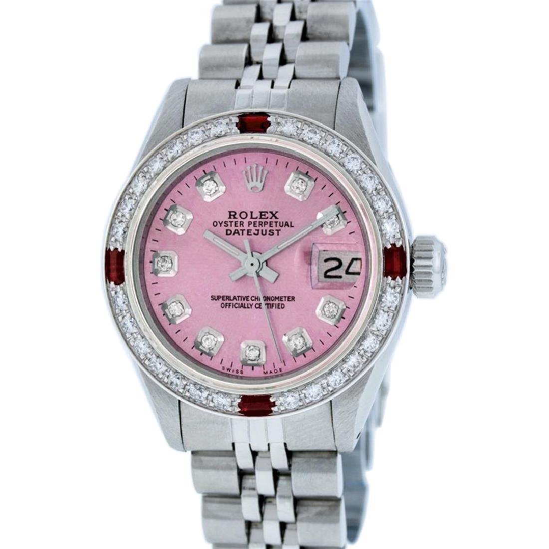 Rolex Ladies Stainless Steel Pink Diamond & Ruby