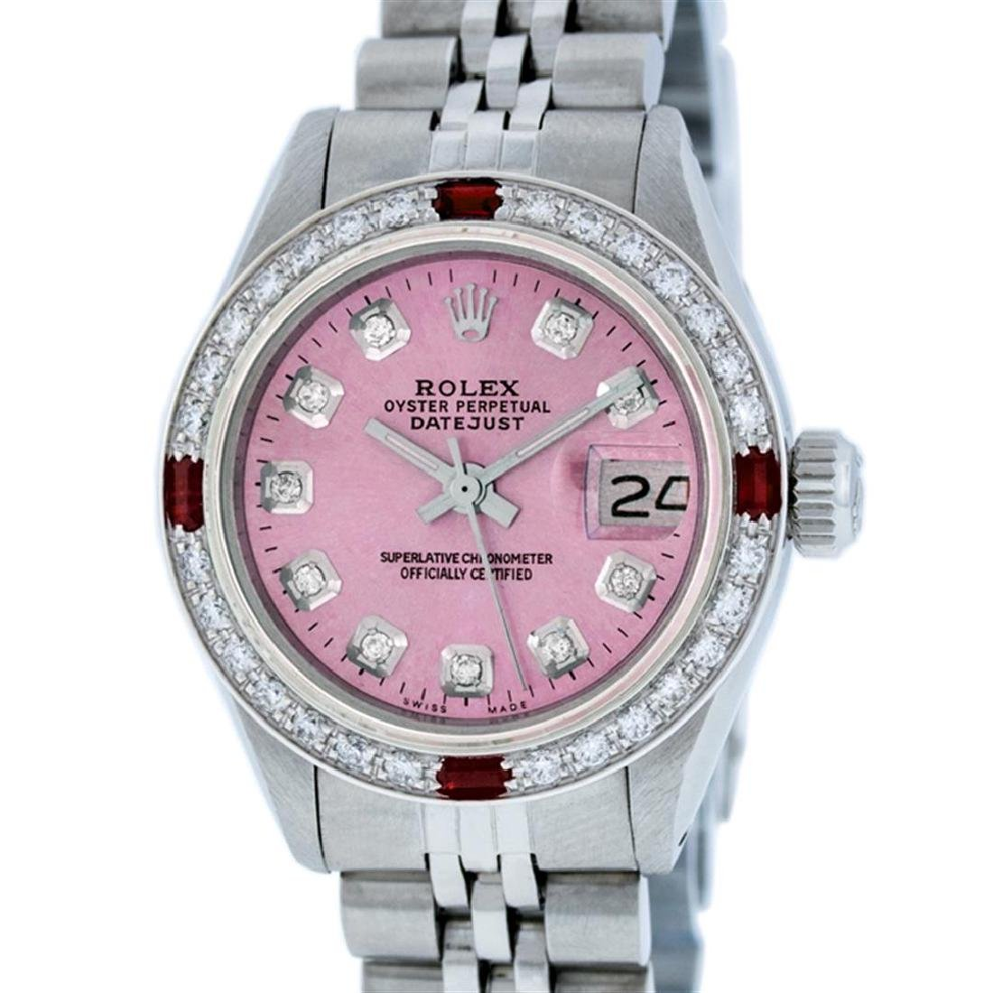 Rolex Ladies Stainless Steel Pink Diamond & Ruby - 2