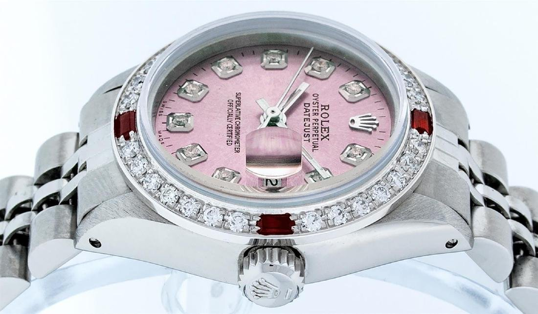 Rolex Ladies Stainless Steel Pink Diamond & Ruby - 3