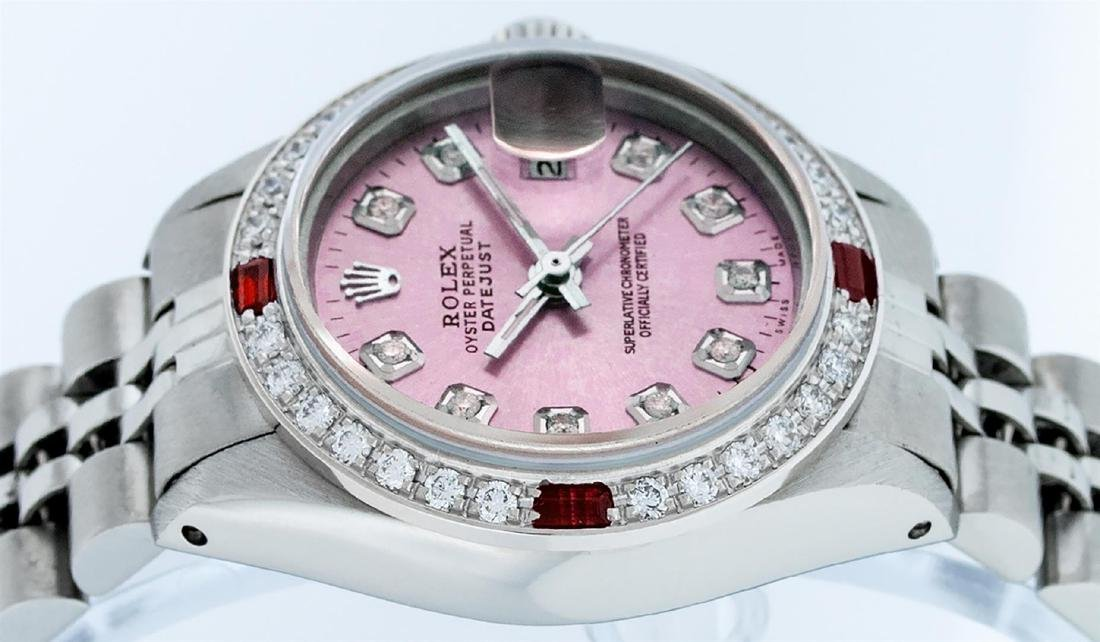 Rolex Ladies Stainless Steel Pink Diamond & Ruby - 4