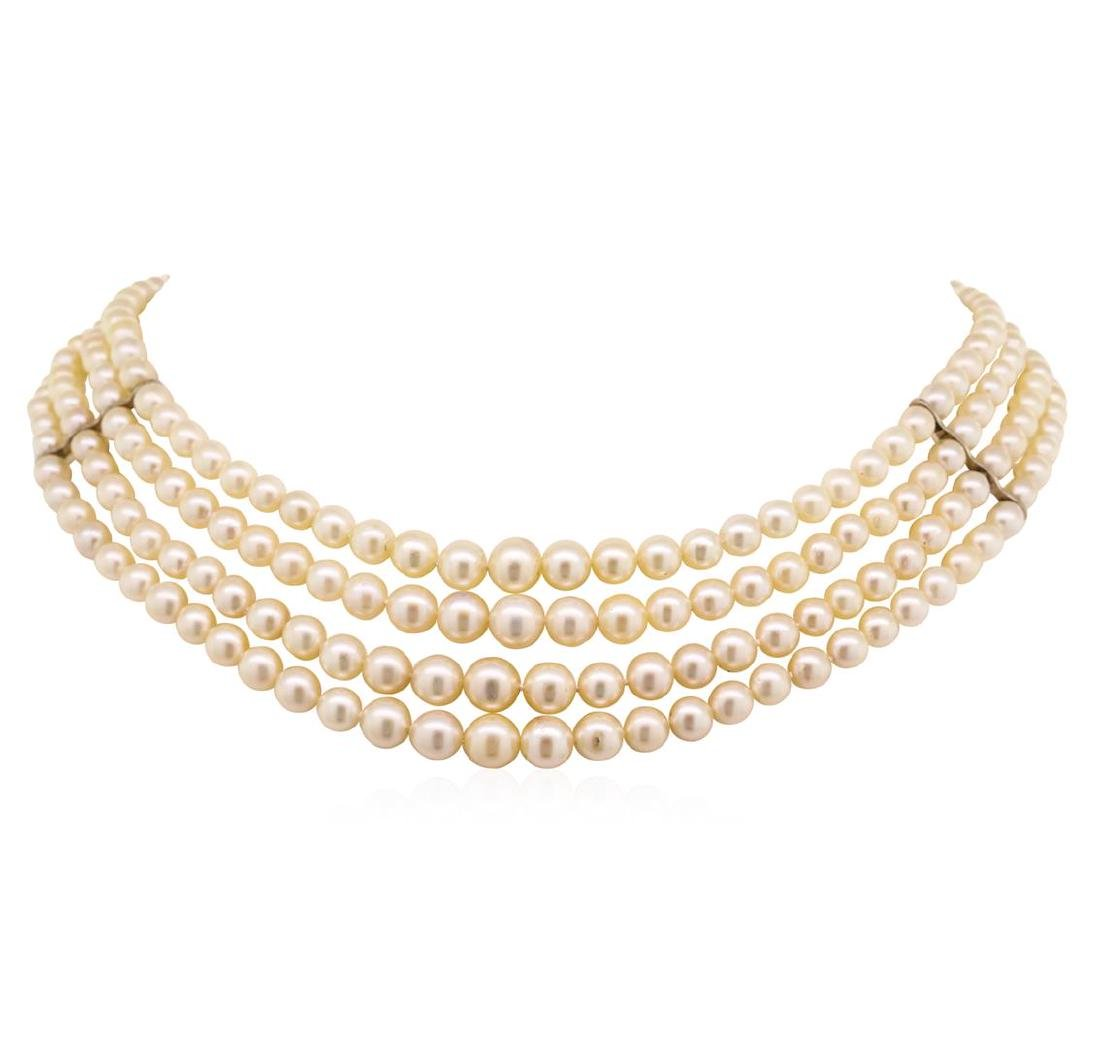 Four Strand Pearl Choker Necklace with Sterling Silver