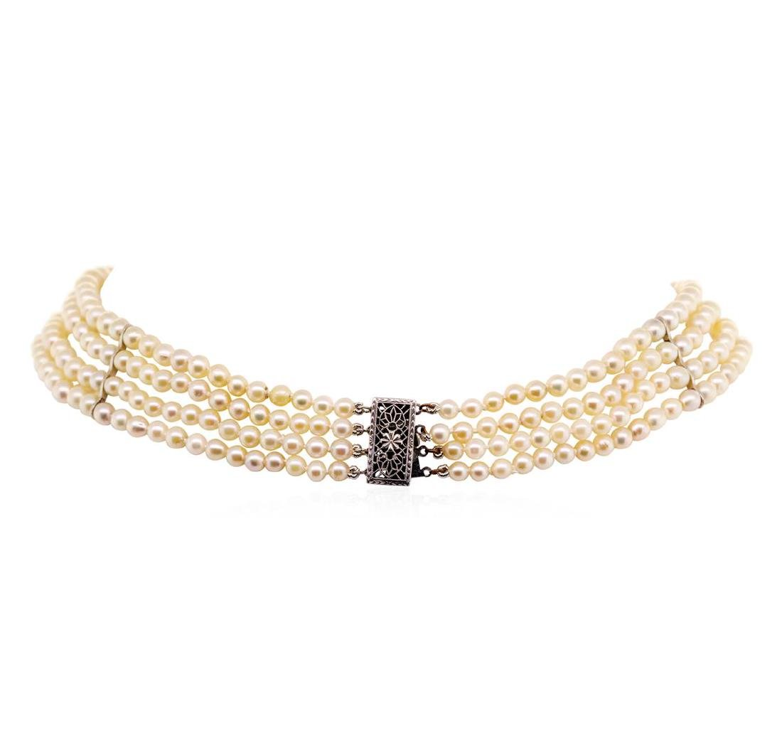 Four Strand Pearl Choker Necklace with Sterling Silver - 2
