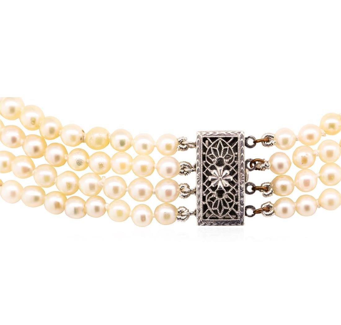 Four Strand Pearl Choker Necklace with Sterling Silver - 3