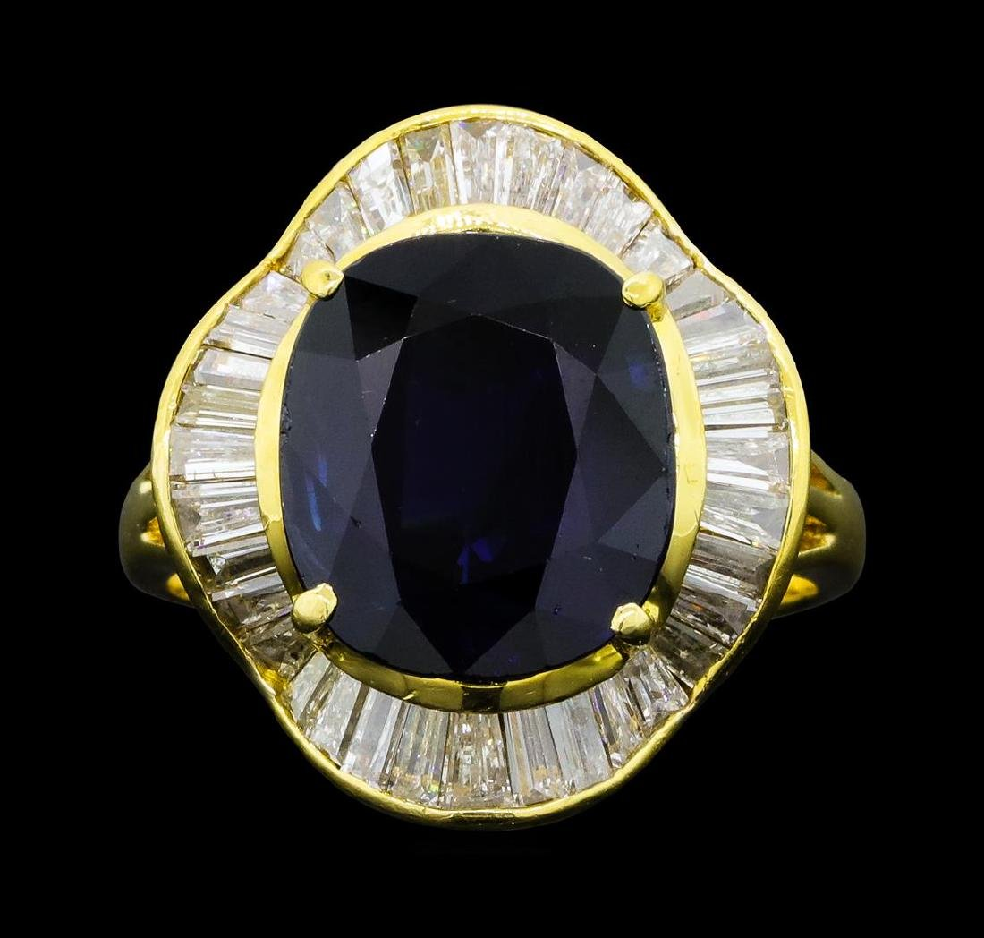 7.35 ctw Sapphire And Diamond Ring - 18KT Yellow Gold - 2