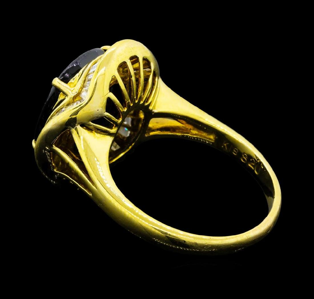 7.35 ctw Sapphire And Diamond Ring - 18KT Yellow Gold - 3