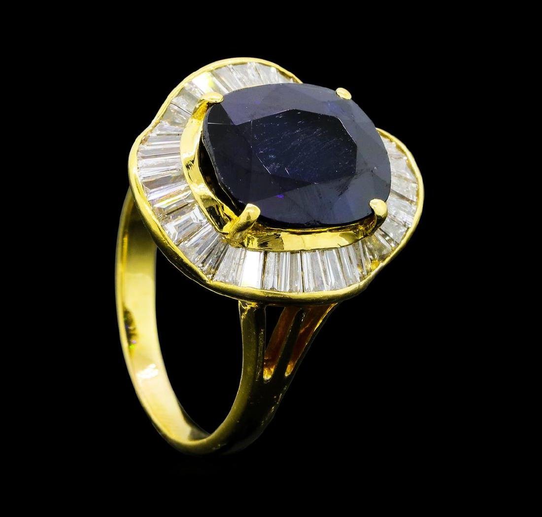 7.35 ctw Sapphire And Diamond Ring - 18KT Yellow Gold - 4