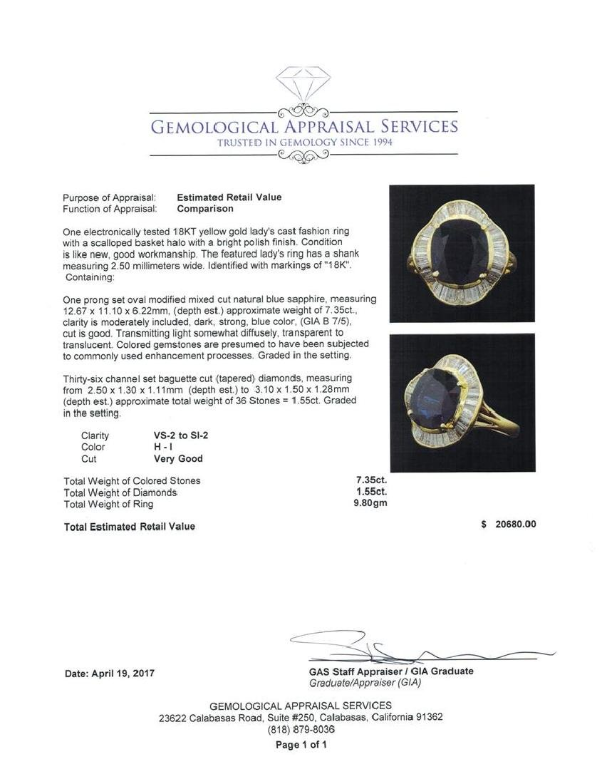 7.35 ctw Sapphire And Diamond Ring - 18KT Yellow Gold - 5