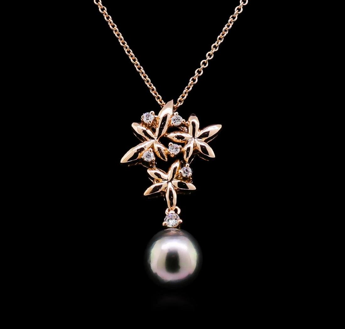 0.18 ctw Pearl and Diamond Pendant - 14KT Rose Gold - 2
