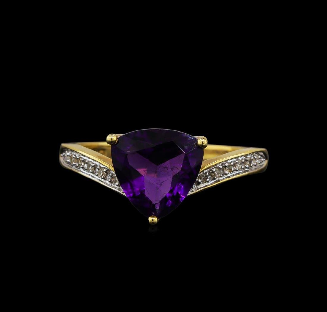 2.06 ctw Amethyst and Diamond Ring - 14KT Yellow Gold - 2