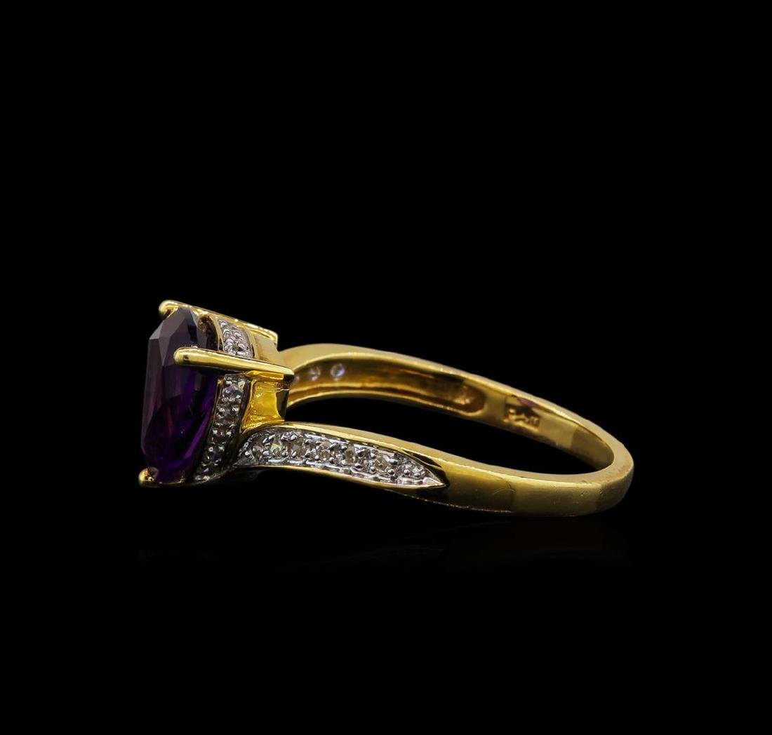 2.06 ctw Amethyst and Diamond Ring - 14KT Yellow Gold - 3