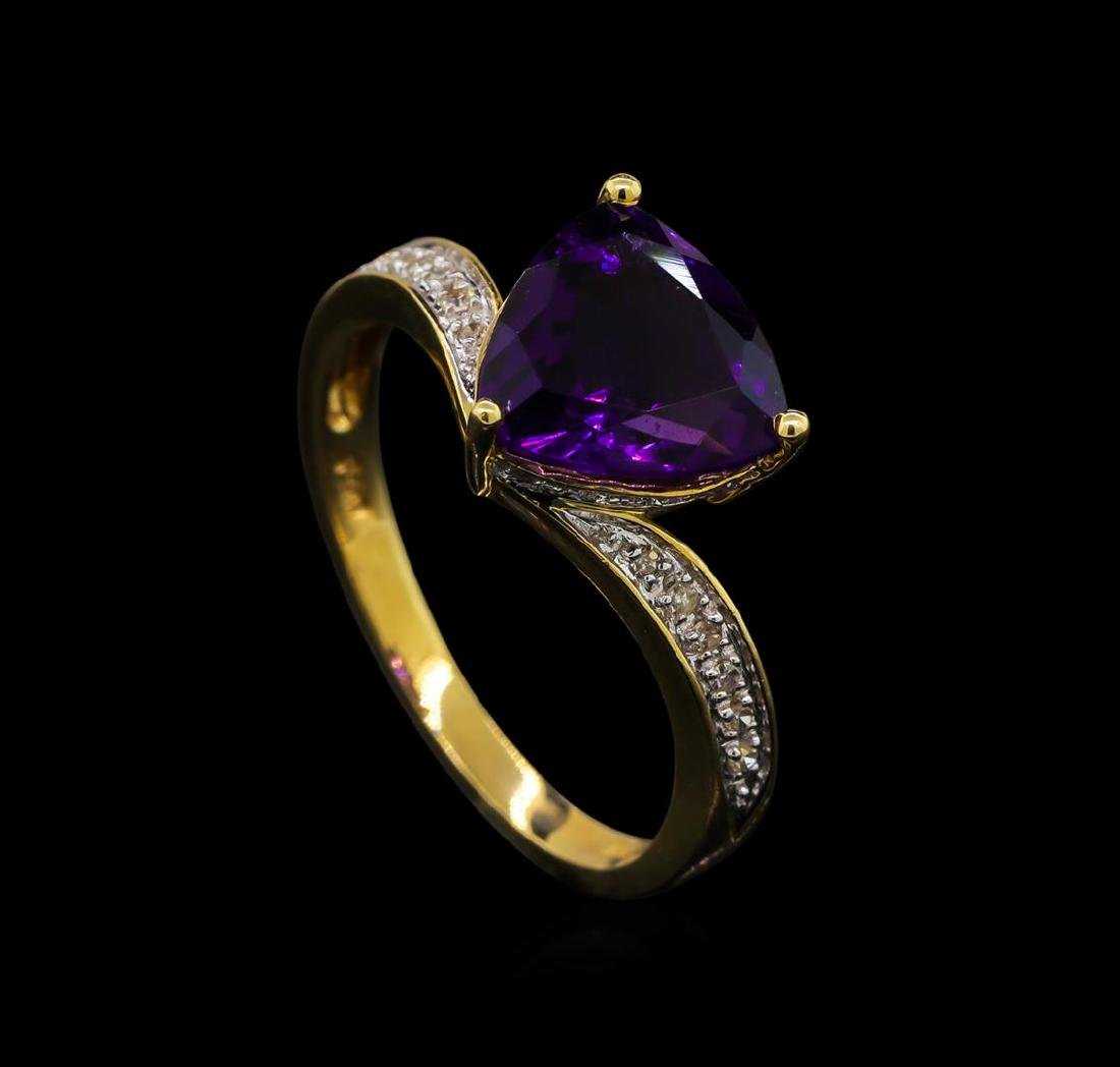 2.06 ctw Amethyst and Diamond Ring - 14KT Yellow Gold - 4