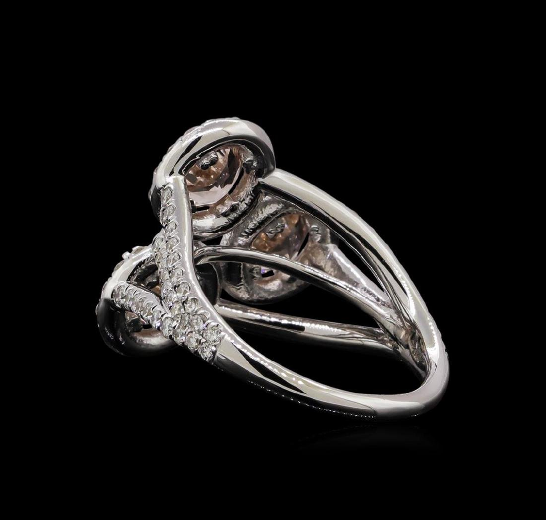 2.07 ctw Morganite and Diamond Ring - 14KT White Gold - 3