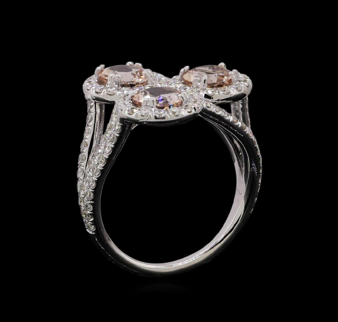 2.07 ctw Morganite and Diamond Ring - 14KT White Gold - 4