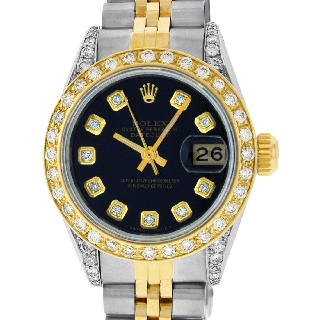 Rolex Ladies 2 Tone 14K Black Diamond Lugs Datejust