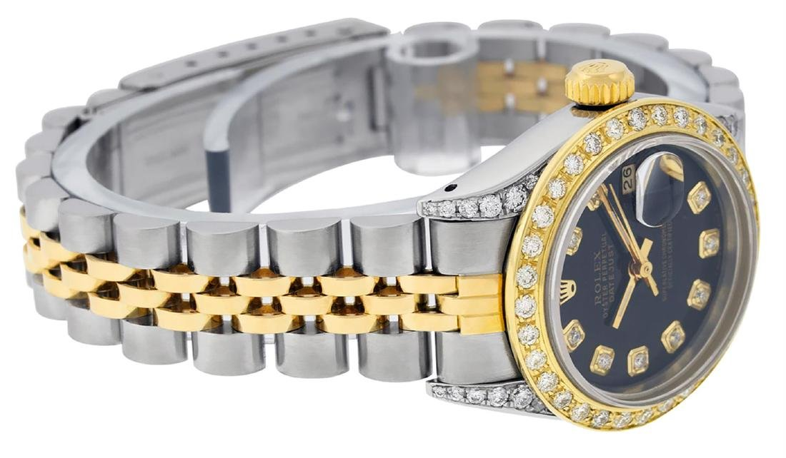 Rolex Ladies 2 Tone 14K Black Diamond Lugs Datejust - 3