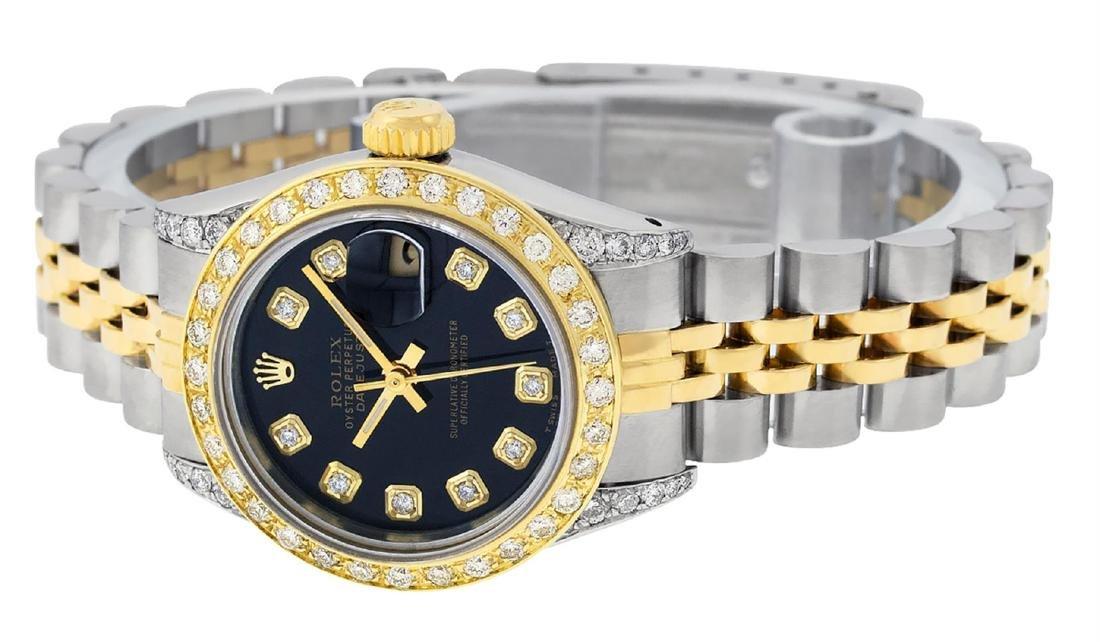 Rolex Ladies 2 Tone 14K Black Diamond Lugs Datejust - 4