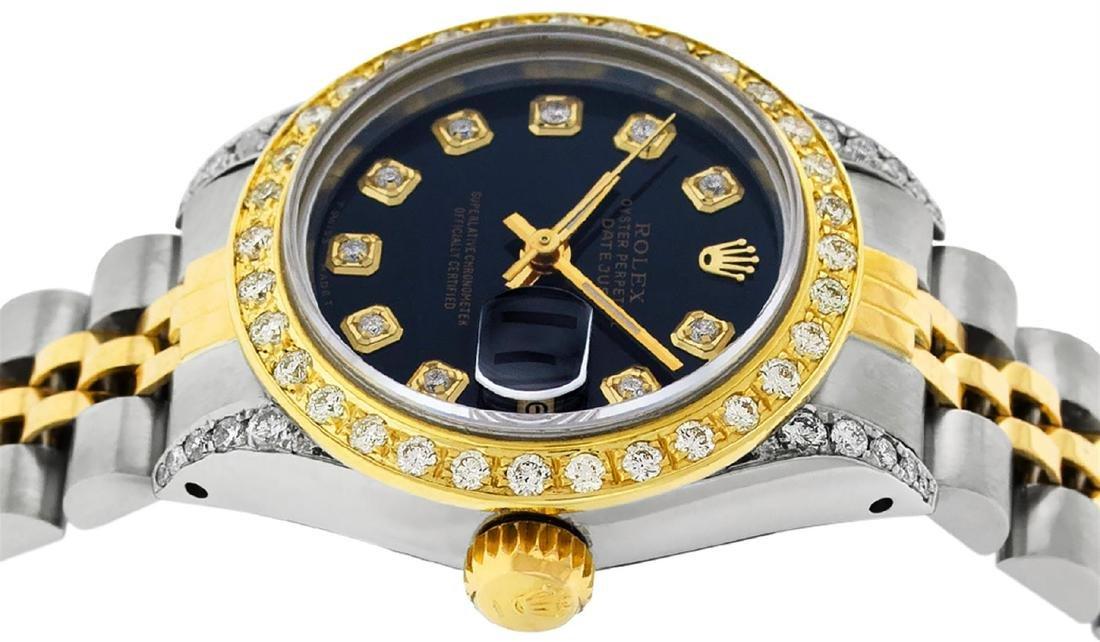 Rolex Ladies 2 Tone 14K Black Diamond Lugs Datejust - 6