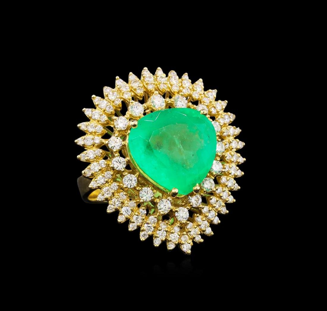 14KT Yellow Gold GIA Certified 7.47 ctw Emerald and