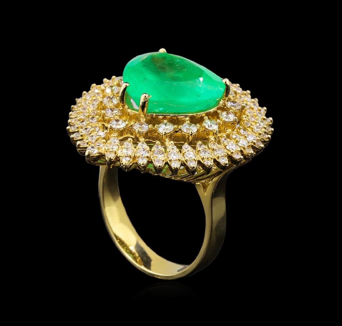 14KT Yellow Gold GIA Certified 7.47 ctw Emerald and - 4