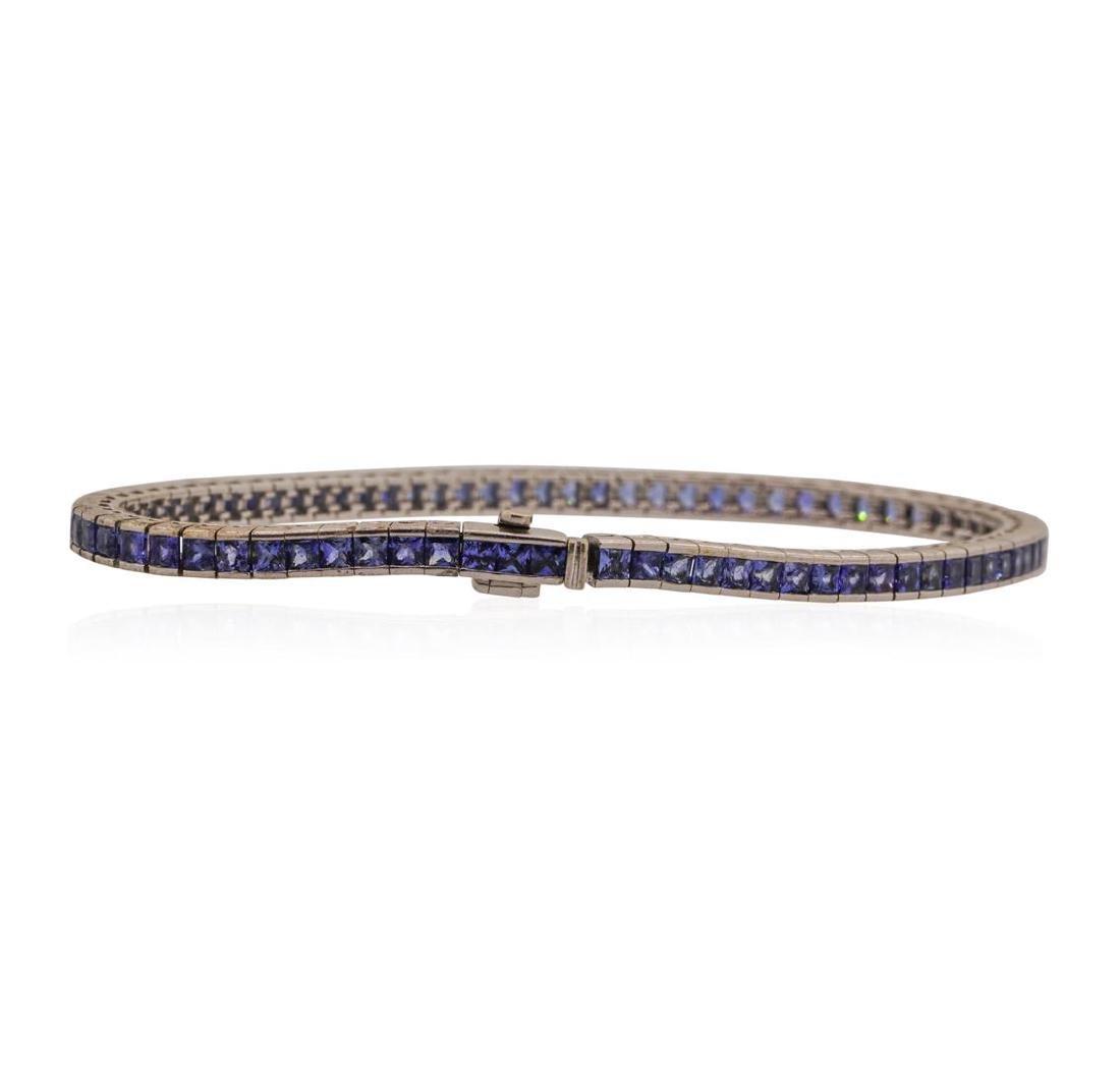18KT White Gold 4.0 ctw Sapphire Bracelet - 2