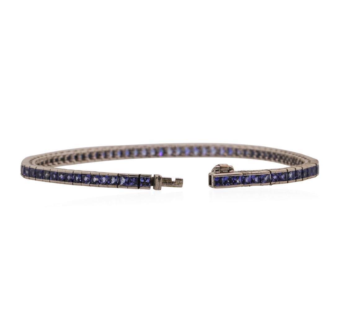 18KT White Gold 4.0 ctw Sapphire Bracelet - 3