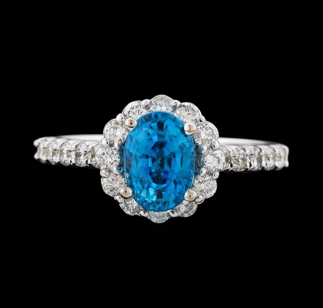 2.34 ctw Blue Zircon and Diamond Ring - 14KT White Gold - 2