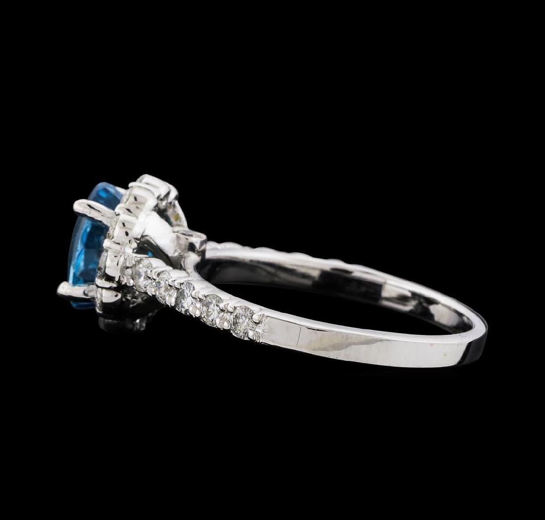 2.34 ctw Blue Zircon and Diamond Ring - 14KT White Gold - 3