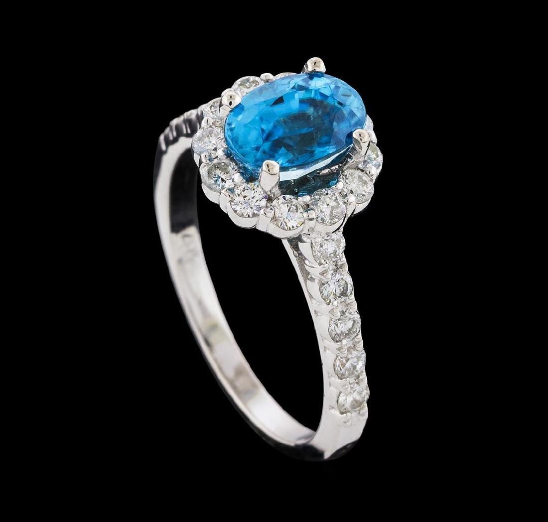 2.34 ctw Blue Zircon and Diamond Ring - 14KT White Gold - 4