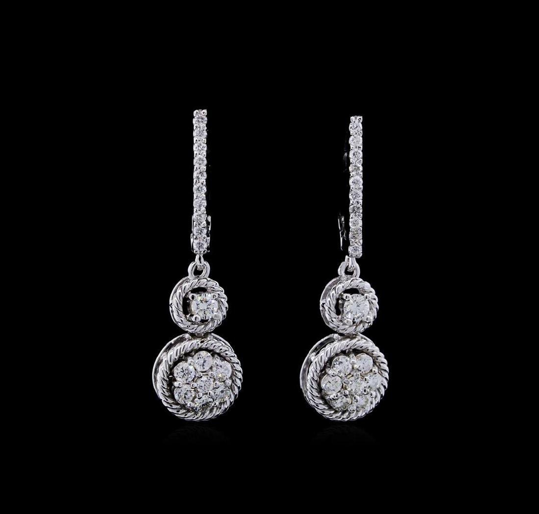 0.70 ctw Diamond Earrings - 14KT White Gold