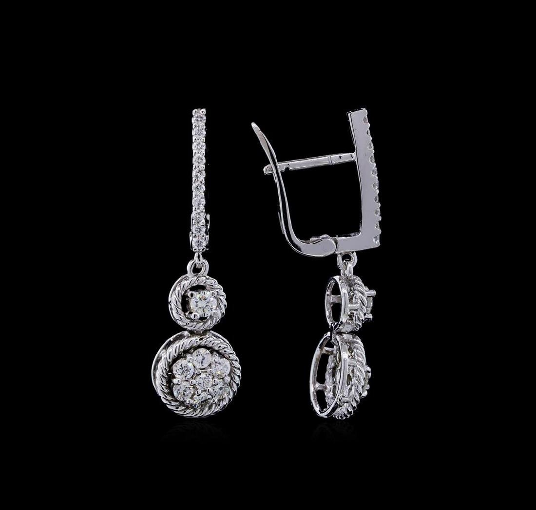 0.70 ctw Diamond Earrings - 14KT White Gold - 2